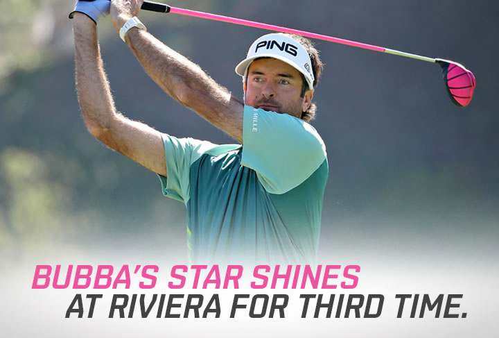 "Action shot of Bubba Watson. Text reads ""Bubba's star shines at riviera for third time"""